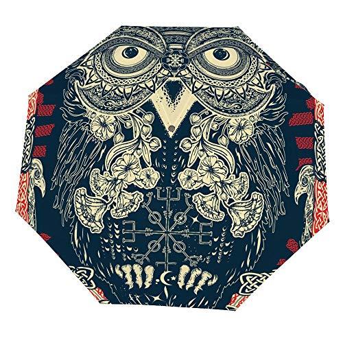 Osvbs Three Fold Manual Umbrella Celtic Owl Nano Automatic Opening Closed Tri-Folding Umbrella Sunscreen Covering Sun and Rain