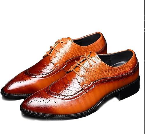 JIALUN-des Chaussures Hommes Simples en en Cuir PU Chaussures Creuses Sculpture épissage Peau de Serpent Texture (Couleur   Marron, Taille   CN27)  envoi gratuit dans le monde entier