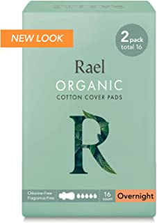 Rael 100% Organic Cotton Menstrual Overnight Pads, Thin Natural Sanitary Napkins with Wings (16 Total),16 Count