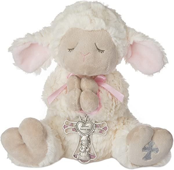 Ganz Serenity Lamb With Crib Cross Christening Or Baptism Gift Pink Girl