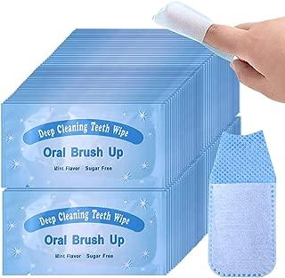 UNIQUE2U 100 pcs Textured Disposable Fresh Breath Deep Cleaning Teeth Wipes Finger Brush Teeth Wipes Oral Brush Finger Brush Ups Clean Pre/Post Whitening (100pcs)
