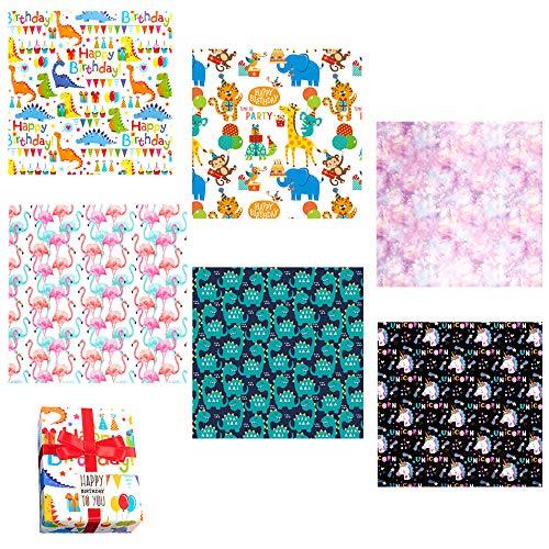 6 hojas de papel de regalo con animales de colores para niños bebés niñas bricolaje, diferentes diseños, paquetes de papel de regalo para regalo cumpleaños navidad boda fiesta de bautismo,50x70cm