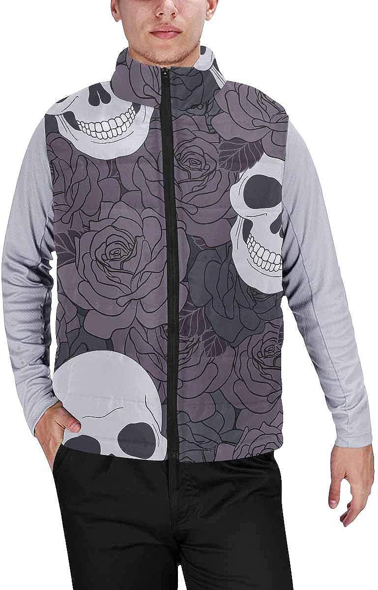 InterestPrint Men's Lightweight Sleeveless Jacket for Travel Hiking Running Skull Flowers Ornamental Art Design