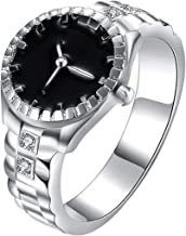 Cutesmile Fashion Jewelry 925 Sterling Silver Dial Analog Watch Creative Finger Ring Watch Good Gift (US 9)