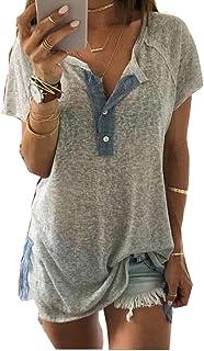レディースブラウスのtシャツ YOKINO 2018 人気 きれいめ ルーズ 女性 V ネック 半袖 レタープリント ブラウス トップス服 T シャツ トップス レディース ゆるtシャツ (XXXXXL, グレー)