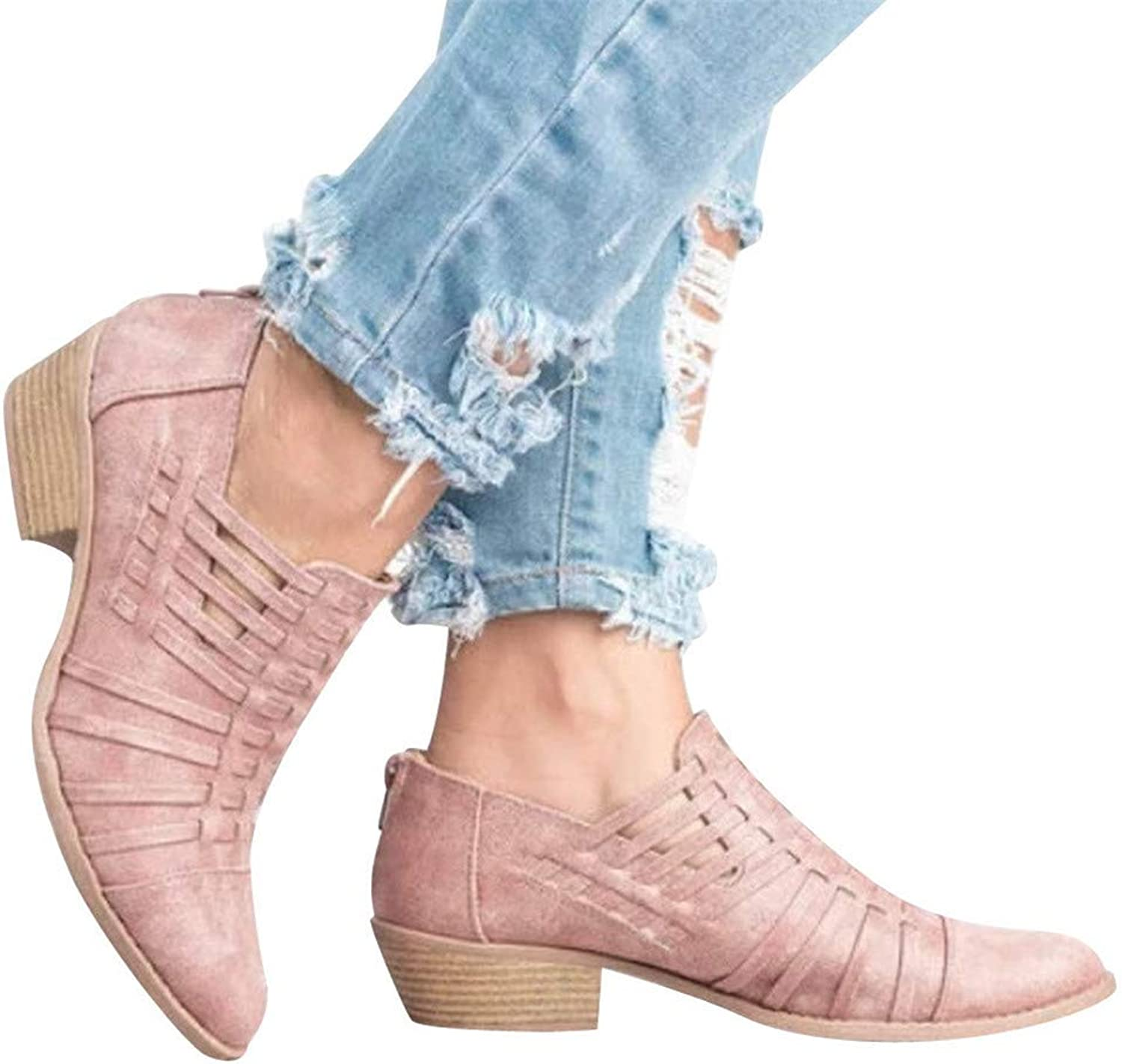 Women's Solid color shoes Ponited Toe Wedge shoes Sandals Booties Zipper Square Heel Single shoes(Pink,44)