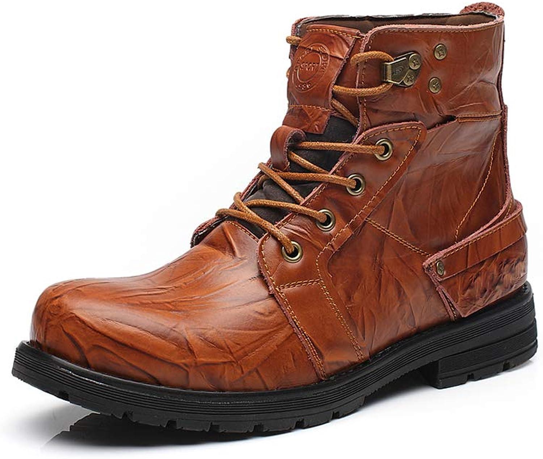 Men's Non-slip Plus velvet Work boots Breathable Leisure Martin boots Cozy British style Single boots