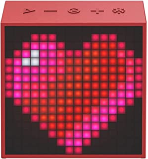 Bluetooth Portable Speaker with Clock Alarm Programmable LED Display for Pixel Art Creation (Color : Red)
