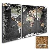 LANA KK Leinwandbild - Weltkarte Graphit - in 120 x 80 cm, dreiteilig, Premium Qualität, mit Korkrückwand, Deutsch