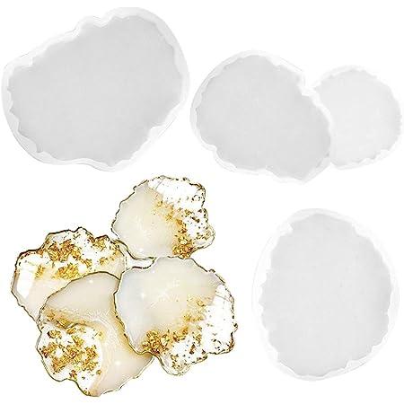 Outgeek 4PCS Resin Casting Mould Coaster DIY Silicone Art Mold Resin Art Mold Epoxy Casting Mold