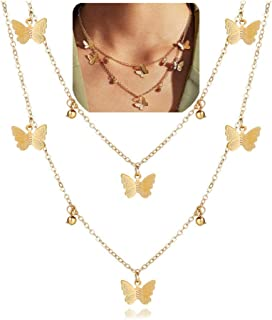 VANGETIMI Gold Choker Necklace Adjustable Dainty Butterfly Pendant Layered Necklace for Women Girls