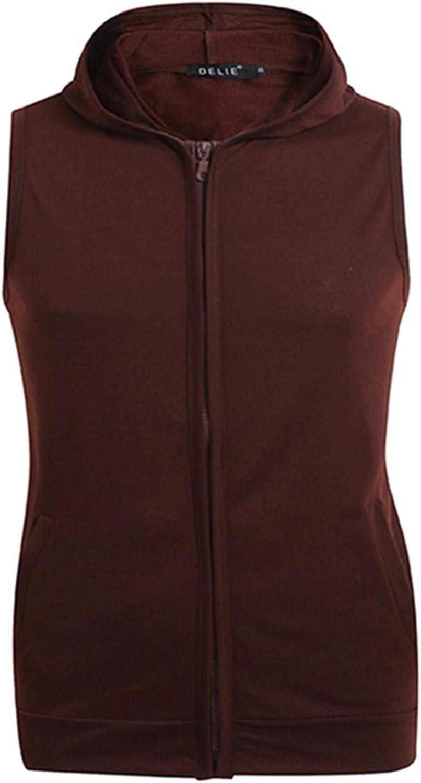 WSIRMET Men's Fashion Solid Color Sleeveless Zip-up Hooded Lightweight Casual Sport Hoodie Vest