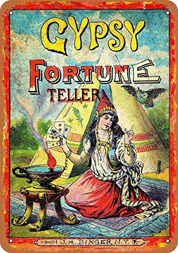 SmartCows 8 x 12 Metal Sign - Gypsy Fortune Teller - Vintage Wall Decor Art
