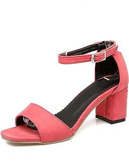 2018 Large Size 32-43 Ankle Strap Women Shoes Sandals Square Heels Party Date Sandal Woman