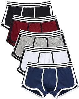 QiuLee ボクサーパンツ メンズ下着 5 枚組 無地 通気 吸汗 コットン ボクサーショーツ 若いセクシー スクエアショーツ