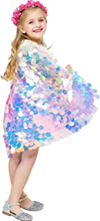 Kids Girl Mermaid Cape Costume Colorful Round Sequined Cloak for Birthday Dress Up Photography Props Cosplay