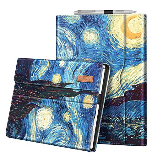 Fintie Case for 12.3 Inch Microsoft Surface Pro 7, Surface Pro 6, Surface Pro 5, Surface Pro 4, Pro 3 - Portfolio Business Cover with Pocket, Compatible with Type Cover Keyboard (Starry Night)