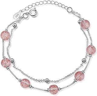 الوردي كريستال الخرز سحر أساور سحر للنساء 925 الفضة الاسترليني سلسلة سوار أنثى يانجين (اللون: الصورة الرئيسية)