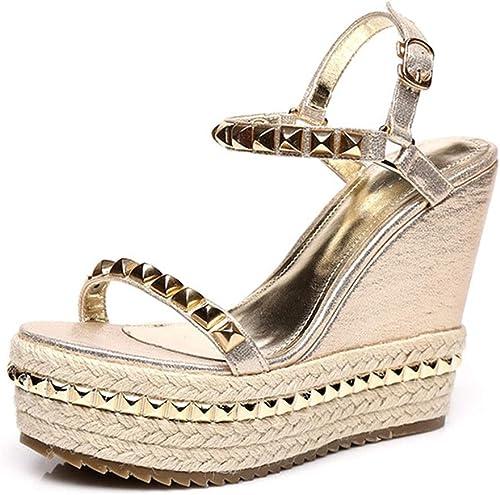 Sandales femmes Wide Width compensées Les Les dames à à Hauts Talons Peep Toe Chaussures Plates Peep Toe Plate-Forme Talons Beach Party Chaussures de Mode Permanent Pas fatigué  exclusif