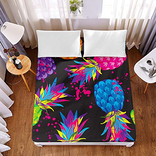 Bedding Fitted Sheets Extra Deep 30 cm, Morbuy Fashion Colorful Pineapple Bedding Microfiber Soft Fade Resistant Bed Sheets for Single Double King Size, Only Bedsheet No Pillowcases (90*200*30cm,H)