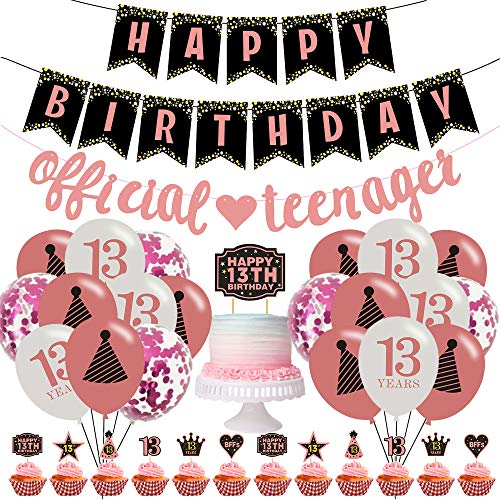13th Birthday Decorations, 40 pcs Official Teenager Birthday Party Celebration Decorations, Rose Gold Banner, Balloons, Cake Topper, Cupcake Toppers, for Girls Boys Thirteen Years Old Birthday