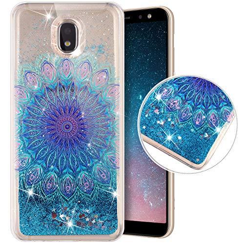 QPOLLY Coque Compatible avec Galaxy J5 2017, Transparente Bling Bling Paillettes Brillant Liquide Glitter Cristal Souple TPU Silicone Gel Bumper Houss