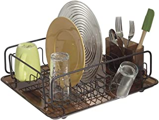 mDesign Escurreplatos con bandeja y escurrecubiertos – Escurridor de vajilla de gran capacidad – Secado rápido de platos, vasos, tazas, cubiertos y utensilios de cocina – Bronce