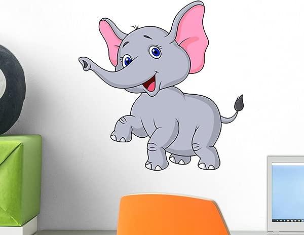 Wallmonkeys Elephant Cartoon Dancing Wall Decal Peel And Stick Graphic 12 In H X 12 In W WM257455