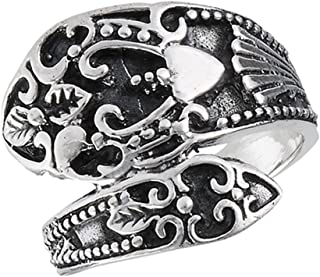 Oxidized Vintage Filigree Heart Spoon Ring Sterling Silver Thumb Band Sizes 7-10