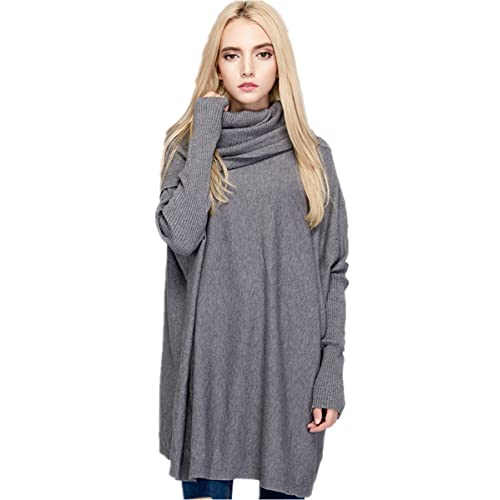 fcd2e82266bb Women s Cowl Neck Loose Knit Top Cable Oversized Pullover Sweaters