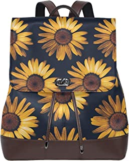 Retro Sunflower View Women's Genuine Leather Backpack Bookbag School Purse Shoulder Bag
