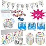 Happy Birthday Disposable Paper Plate, Napkin Kids Party Tableware Set 130 pcs 16 Server