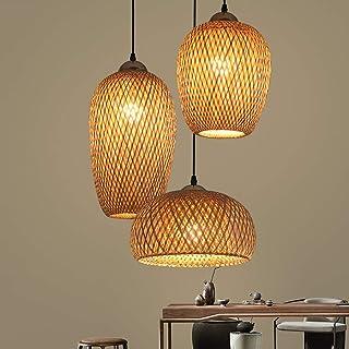 Lampe Suspendue Bambou Tissé À La Main, Rotin Lampe À Suspension Tissée À La Main, 3-Lumières Abat-Jour Bambou, Lumières D...