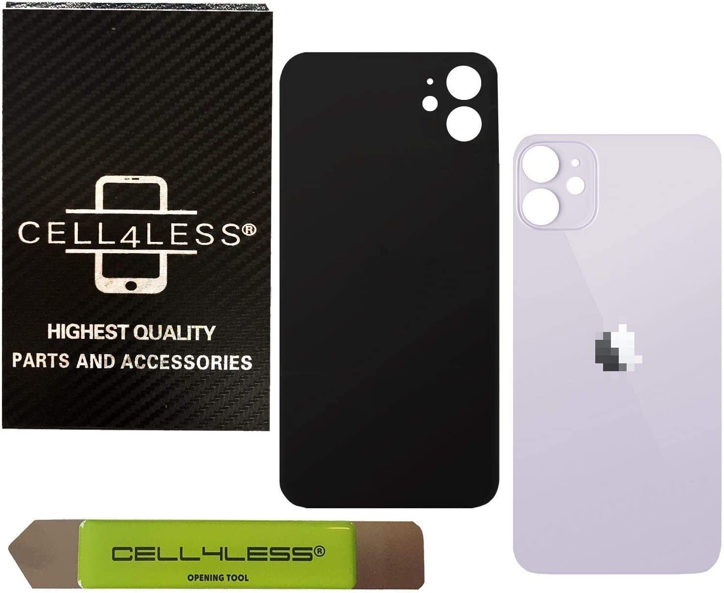 Purple Cell4less Back Glass Replacement Kit for The iPhone 11 ~ Rear Back Glass w//Removal Tool Wide Hole Fits Over Camera Lens
