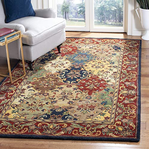 Safavieh Heritage Collection HG911A Handmade Traditional Oriental Multi and Burgundy Wool Area Rug (5' x 8')