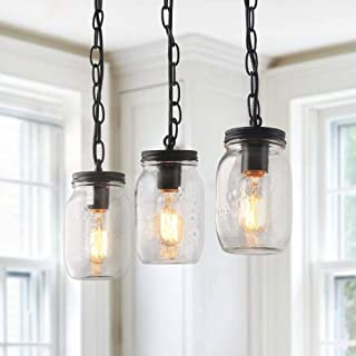 LNC Mason Jar Pendant Lighting for Kitchen Island Dining Rooms Chandeliers, A03222