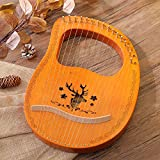 16 Metal String Mahogany Lyre Harp, Portable String Instrument with Carry Bag and Tuning Wrench for Music Enthusiast/Kids/Adults/Beginners/Professional/Gift