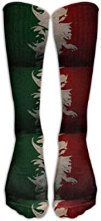 Leisue Colorful Italian Flag Fitted Over-The-Calf Stockings Knee Long Socks for Yoga Train Hiking Cycling Running Sports Soccer