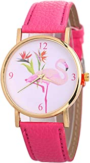 Gilroy Womens Watch, Fashion Flamingo Pattern Faux Leather Strap Arabic Numbers Quartz Wristwatch