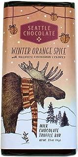 Seattle Chocolate Holiday Winter Orange Spice Milk Chocolate Truffle Bar 2.5oz