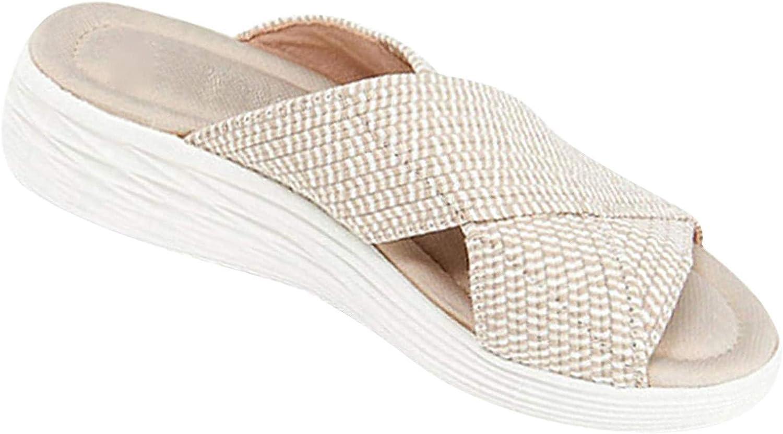 FAMOORE Women Stretch Cross Slide Sandals Summer Beach Wedge Platform Slippers Shoes
