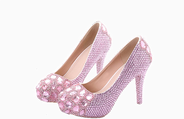 Unicoratha Women's Crystal Rhinestone Closed Round Toe Pumps Stiletto Heel Bridal Wedding shoes Size