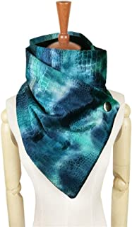 NJTSXLM Fashion Gradient dye Rainbow Scarf Women Metal snap Neck Warmer Loop Poncho Winter Mujer Scarves (Color : Blue)