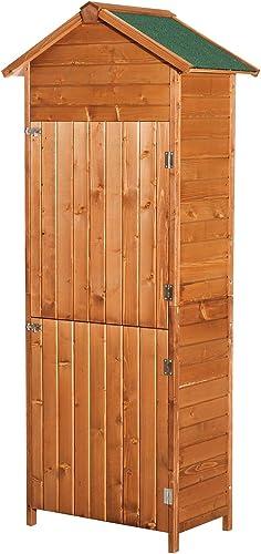 HOMCOM Armoire de Jardin Remise pour Outils 79L x 49l x 190H cm 2 Portes 2 étagères Toit bitumé étanche Bois Sapin pr...