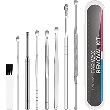 Ear Wax Removal Kit, 8-in-1 Ear Pick Tools Curette Cleaner Reusable Ear Cleaner, Medical Grade Stainless Steel Ear Wax Remover with Storage Box, Silver