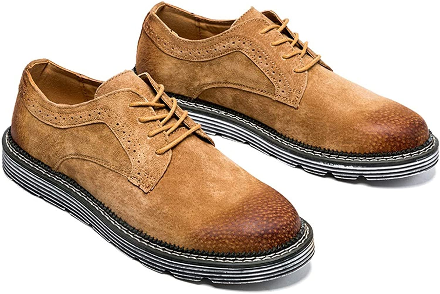 Men's Work Boots Low Top Lace Up Boot Suede Ankle Short Boots Oxfords Slip On Leather Upper Round Toe (color   Yellow-Brown, Size   9 D(M) US)