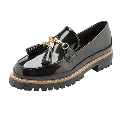 f53ab526a hunpta Women's Preppy Style Tassel Patent Leather Shoes Female Casual Shoes