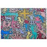Legendarte - Cuadro Lienzo, Impresión Digital - En el Mundo de Keith Haring - Decoración Paredcm. 50x70