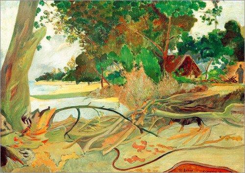 Posterlounge Leinwandbild 130 x 100 cm: Te burao, der Hibiskusbaum von Paul Gauguin/akg-Images - fertiges Wandbild, Bild auf Keilrahmen, Fertigbild auf echter Leinwand, Leinwanddruck