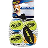 Nerf Dog Tennis Ball Dog Toys with Interactive Squeaker, Lightweight, Durable and Water Resistant, 1.75 Inches, For Small Breeds, Four Pack, Mixed Colors